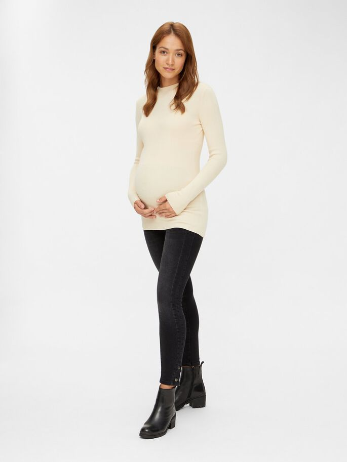 KNITTED MATERNITY PULLOVER, Parchment, large