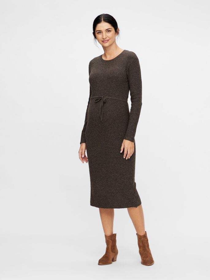 KNITTED MATERNITY MIDI DRESS, Mole, large