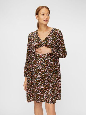 FLORAL LONG SLEEVED MATERNITY DRESS