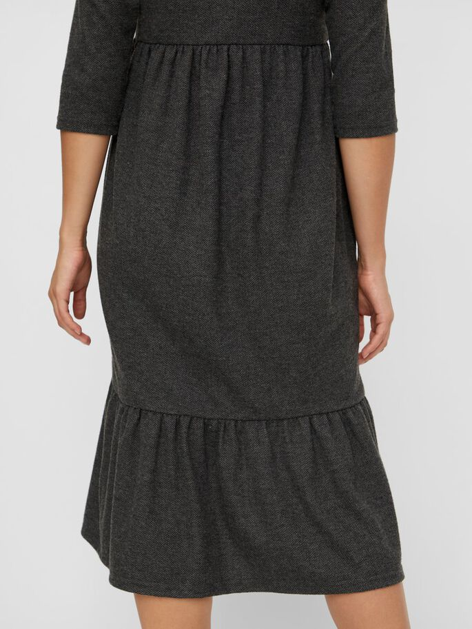 JERSEY 3/4 SLEEVED MATERNITY MIDI DRESS, Dark Grey Melange, large