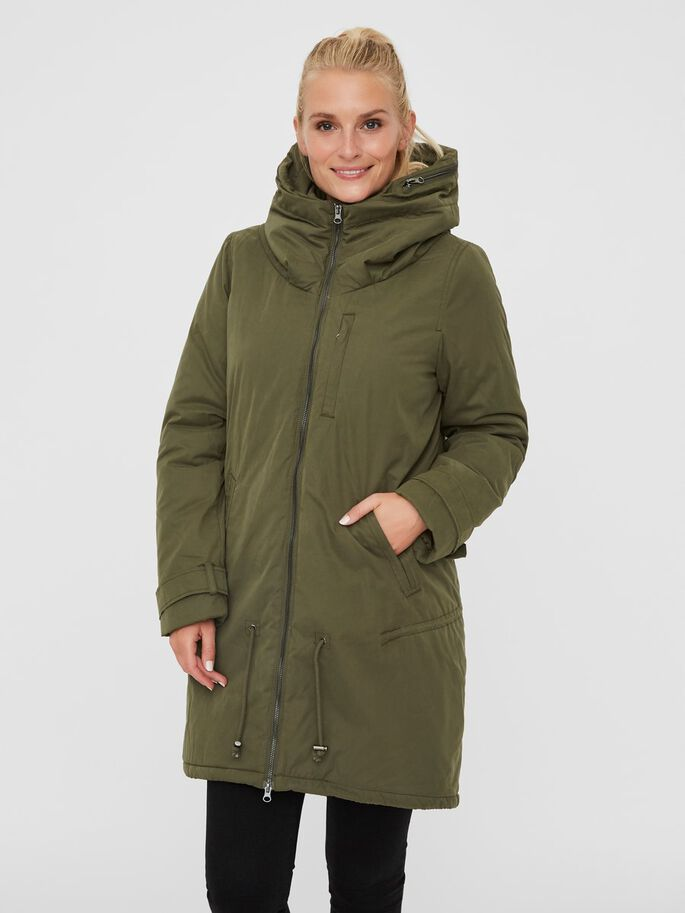 PADDED 2-IN-1 MATERNITY COAT, Olive Night, large