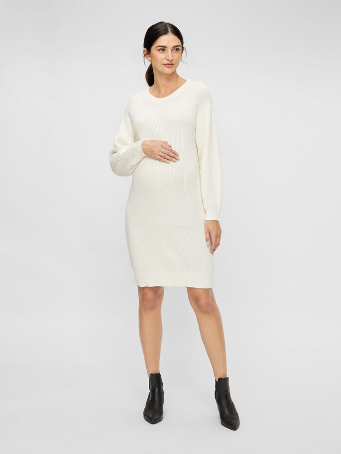 KNITTED MATERNITY DRESS, Cloud Dancer, large