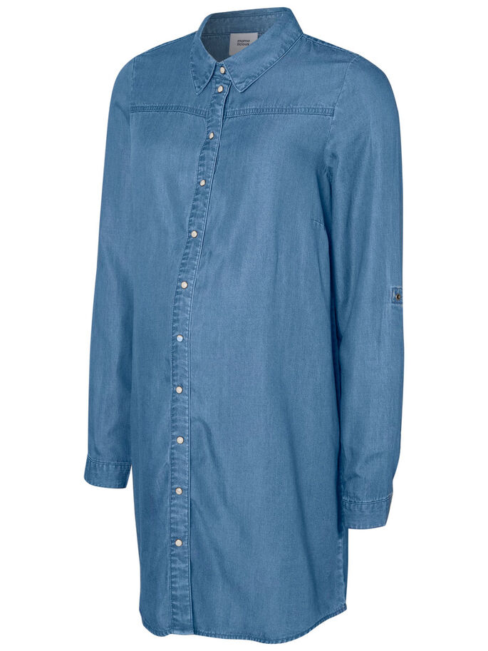 GEWEBTES UMSTANDSTOP, Medium Blue Denim, large
